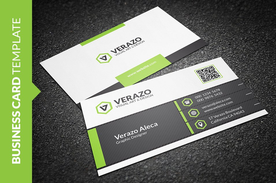 Cool green business card business card templates creative market reheart Gallery