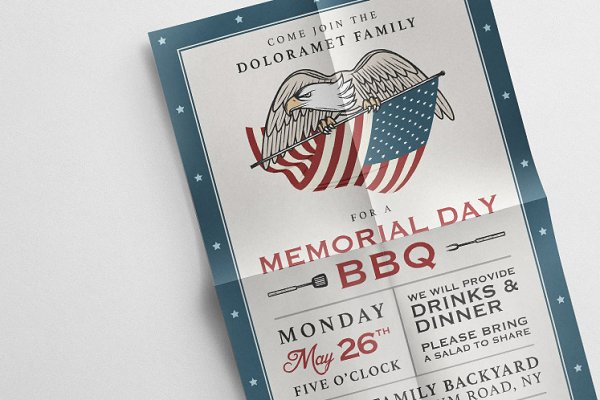 Invitation Templates - Vintage Memorial Day invitation