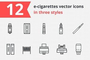 12 e-cigarettes vector icons