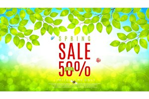 Beautiful web banner for spring sale
