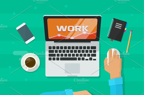 Laptop Computer Working Desk Vector