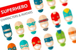 Happy Superhero Character Icons