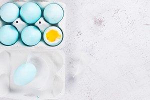 Set of blue easter eggs
