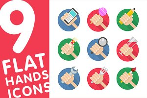 Flat Hands Icons