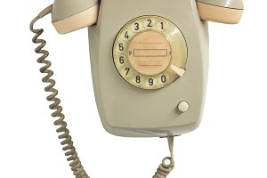 Vintage phone isolated over white