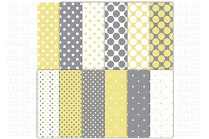 Yellow Grey Polka Dots Digital Paper