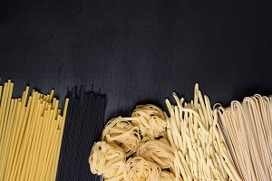 Pasta on a black board