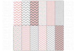 Pink Grey Chevron Digital Papers