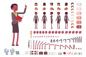 Female teacher character creation set