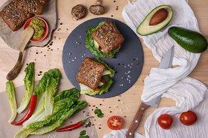Organic vegetarian mushroom burger