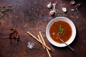 Gazpacho Spanish soup with bread