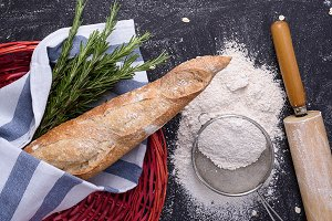 Whole wheat baguette & rosemary