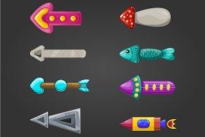 Set of fantastic cartoon arrows