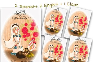 Sally in Wonderland / Postcard, card