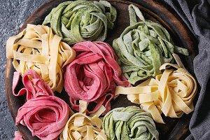 Colored raw pasta