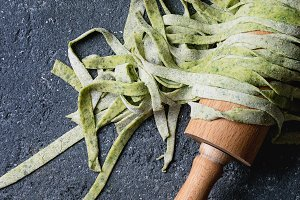 Fresh homemade green pasta tagliatelle