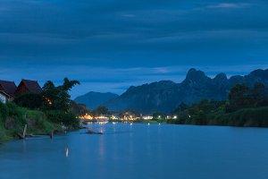 Vang Vieng at night, Laos