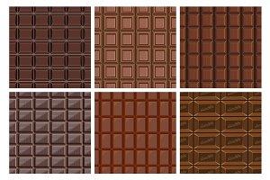 Chocolate seamless pattern set