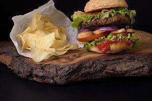 Burger with potato chips