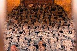 Headless Buddha statues, Laos