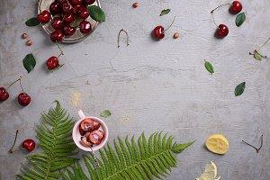 Fresh red cherries, clafouti dessert