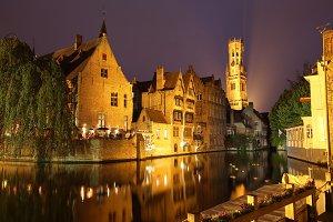 Night View of Brugge Belgium