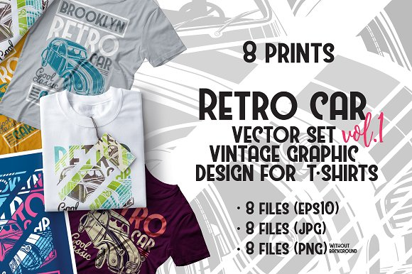 Set of vintage prints tshirt - Illustrations