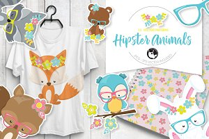 Hipster animals illustration pack