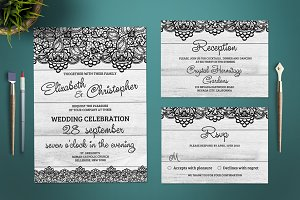 White Wood and Lace Wedding Invite