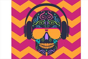 Skull icon with headphone beats