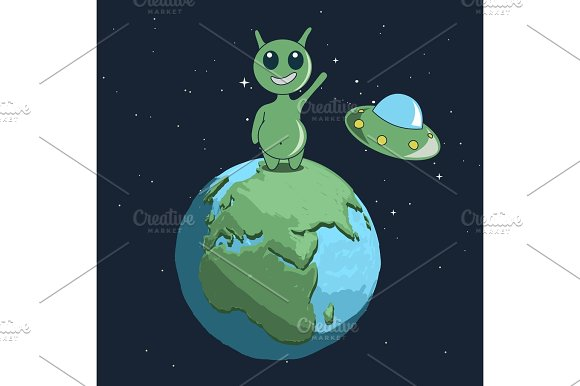 Cute Alien Stand On Earth And Welcomes Us