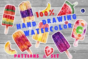 Watercolor pattern with ice-cream