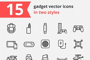 15 gadget vector icons