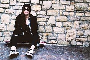 Beautiful skater girl | black dress