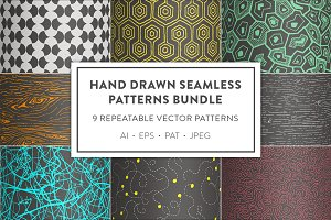 Hand Drawn Seamless Patterns Bundle
