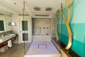 Interior of a hotel bathroom .
