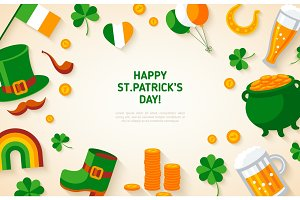 Patrick Day Background with Irish Flat Icons