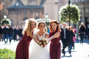The bridesmaids with bride