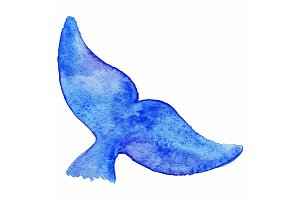 Watercolor whale tail animal vector