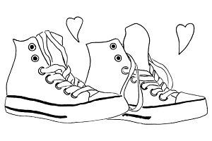 Monochrome sneakers line art vector