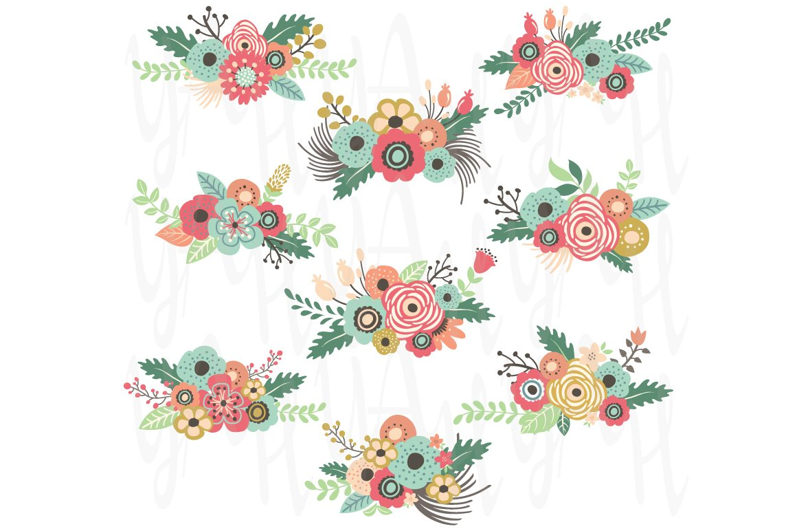 Vintage Floral Clip Art Illustrations Creative Market