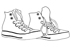Sneakers shoes line art vector