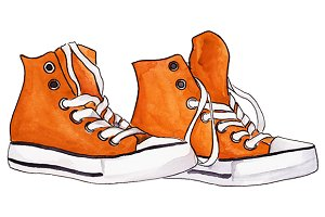 Watercolor sneakers shoes vector