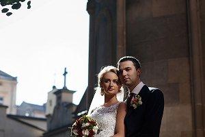The brides on the urban street
