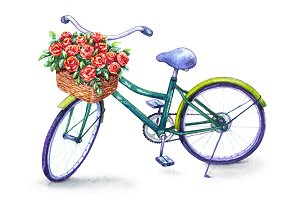 Bicycle with Red Roses Basket