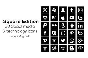 30 Square social media icons