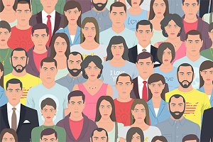 Group of people seamless pattern