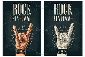 Rock and Roll sign. Vector black vintage engraved illustration.