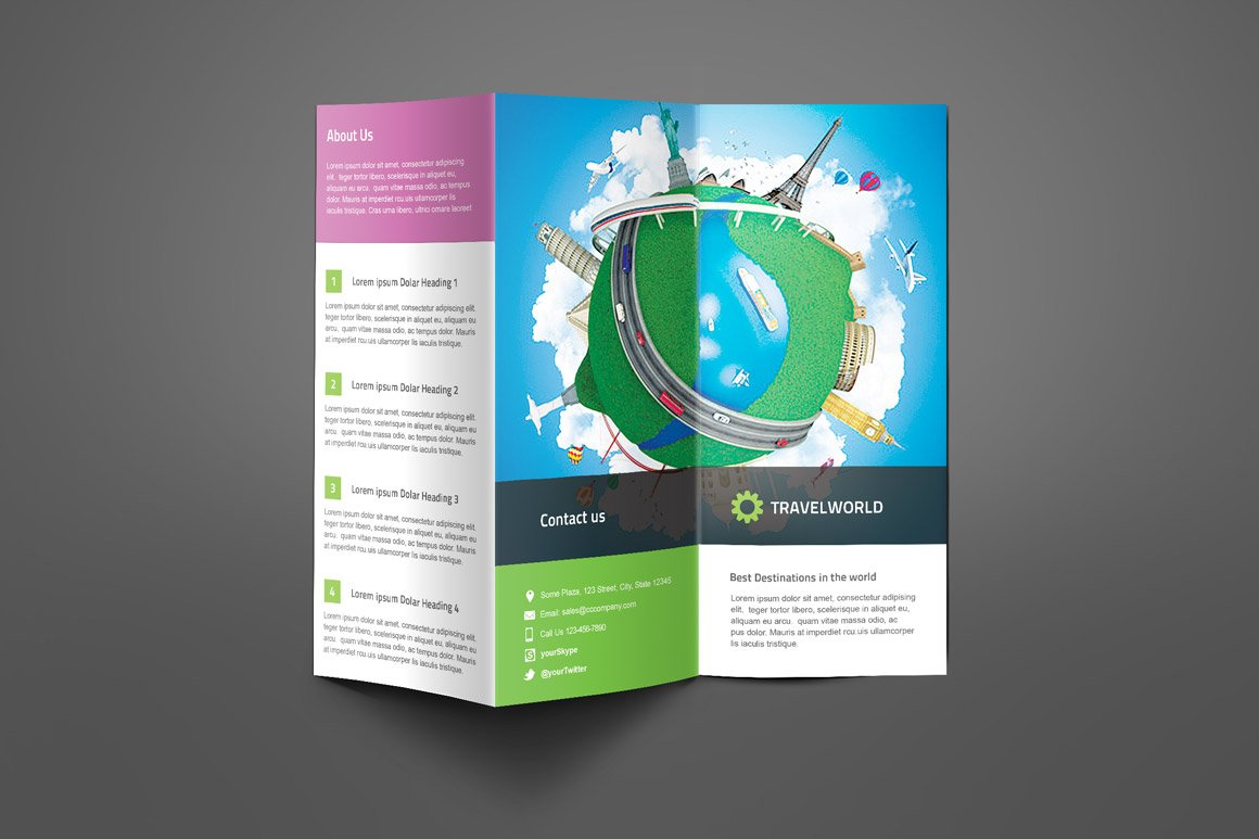 travel company trifold brochure brochure templates creative market