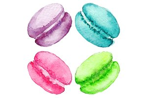 Watercolor sweet macaroon set